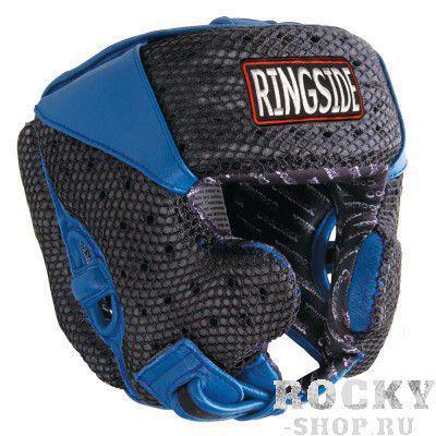 Боксерский шлем, тренировочный, Чёрный/синий RINGSIDEБоксерские шлемы<br>Имеет сетку для вентиляции<br> Внутренняя сторона шлема заполнена пеной и специальным вкладышем для максимального удобства и циркуляции во в ходе соревнований<br> Дополнительная обивка на ремне подбородком и для ушных каналов усиливает защиту<br> Настраиваемая задняя защелка и липучка<br><br>Размер: Размер L