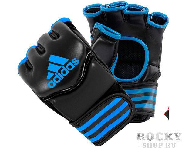 Перчатки для смешанных единоборств Traditional Grappling, черно-синие AdidasПерчатки MMA<br>Классические перчатки для смешанных единоборств.   Застежка на липучке.   Защита большого пальца  Усиленная защита кисти  Материал: PU.<br><br>Размер: XL