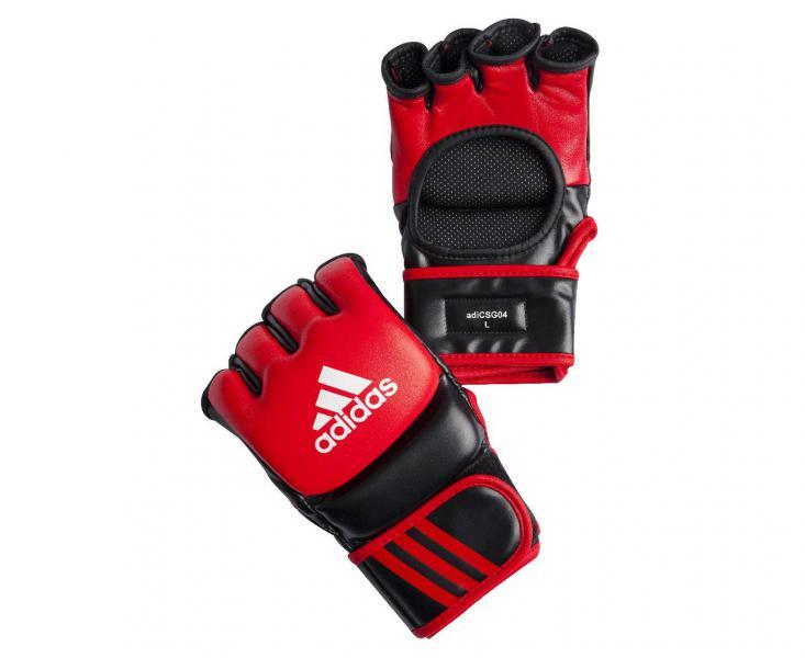 Перчатки для смешанных единоборств Ultimate Fight, красно-черные AdidasПерчатки MMA<br>Ultimate Fight Gloves. Боевые Перчатки для смешанных единоборств. Одобрены UFC.  Застежка на липучке. Усиленная защита кисти Материал: воловья кожа.<br><br>Размер: S
