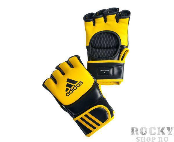 Перчатки для смешанных единоборств Ultimate Fight, желто-черные AdidasПерчатки MMA<br>Ultimate Fight Gloves. Боевые Перчатки для смешанных единоборств.&amp;nbsp;Одобрены UFC.&amp;nbsp;Застежка на липучке.Усиленная защита кистиМатериал: воловья кожа.<br>