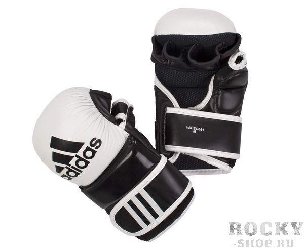 Купить Перчатки для смешанных единоборств Hybrid Training Leather Adidas черно-белые (арт. 4651)