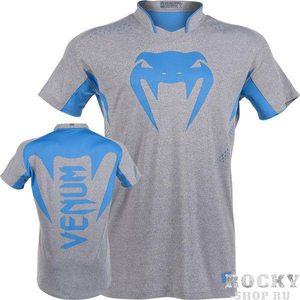 Купить Футболка Venum Hurricane X Fit™ T-Shirt - Grey/Neo Blue (арт. 4726)