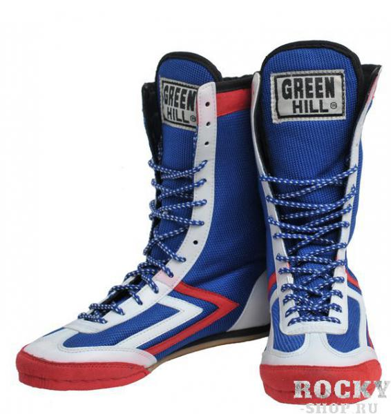 Боксерки высокие, Green Hill, сине-белые Green HillБоксерки<br>Верх пошит из нейлона и замши. Подошва из нескользящего материала.<br><br>Размер: 45