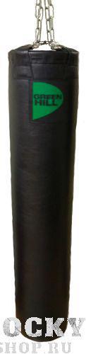 Водоналивной подвесной боксерский мешок 45*150 см, 90 кг Green HillСнаряды для бокса<br>Тип:аэроводныйИсполнение:вертикальноеМатериал:натуральная кожа (толщина 1,9 мм)Цвет:черныйНаполнение:вода, воздухПодвесная система:карабин, цепи, кольцо разъемное. Размер (диаметр,см х высота, см - вес, кг):45x150-90<br>