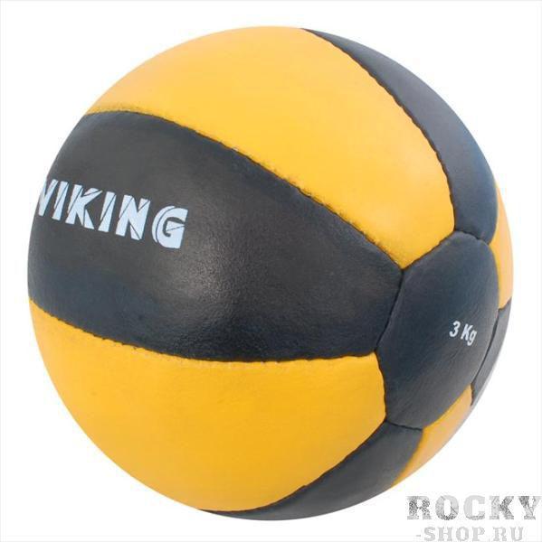 Медицинбол Viking, 2 кг, Черно-желтый VikingМедицинболы<br>Оболочка: натуральная кожа высшего качества,<br><br>Цвет: черный с желтым,<br><br>Ручная работа,<br><br>Внутри - натуральные волокна кокоса,<br><br>Вес 2 кг<br>
