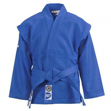 Детская куртка для САМБО Green Hill JUNIOR, 120 см Green HillЭкипировка для Самбо<br>Магазин Rocky shop представляет бюджетную модель куртки для самбо от известного производителя Green Hill. <br>Детская куртка для самбо,<br><br>Для тренировок,<br><br>Пояс в комплекте,<br><br>100% хлопок,<br><br>Красный или Синий цвет,<br><br>Цвет: Синий