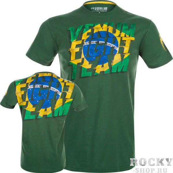 Футболка Venum Brazilian Flag T-Shirt - Green VenumФутболки<br>Футболка Venum Brazilian Flag T-Shirt - Green - патриотическая футболка в честь Бразилии. Спортивная и стильная, сделана из 100% хлопка. Легкий и комфортный материал. Можно использовать как для тренировок, так и для повседневной носки. Особенности:Состоит из 100% высококачественного хлопкаСпортивный кройСупермягкая, удобная и долговечная ткань<br><br>Размер INT: XL