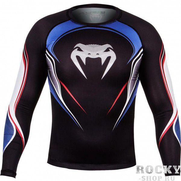 Купить Компрессионная футболка Venum USA Hero Compression T-Shirt - Black/Blue/Red Long Sleeves (арт. 4880)