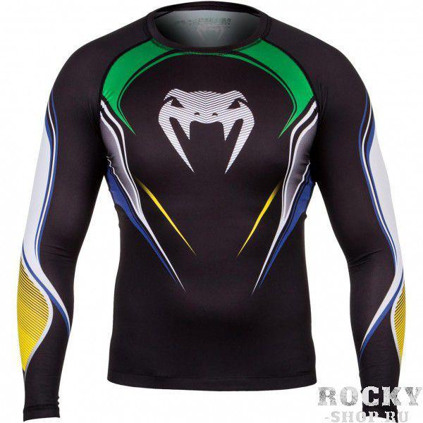 Купить Компрессионная футболка Venum Brazilian Hero Compression T-Shirt - Black/Yellow/Green Long Sleeves (арт. 4882)
