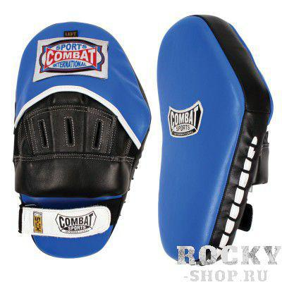 Боксерские лапы классические, Чёрный/синий CombatЛапы и макивары<br>Изгибы изготовлены из плотной набивки что способствует поглощению удара<br> Надежные ремешок для крепления<br> Синтетическая кожа<br> 2 штуки в упаковке<br>