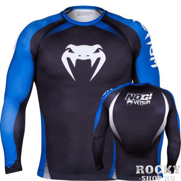 Купить Рашгард Venum No Gi Rash Guard IBJJF Approved - Long Sleeves Black/Blue (арт. 4903)