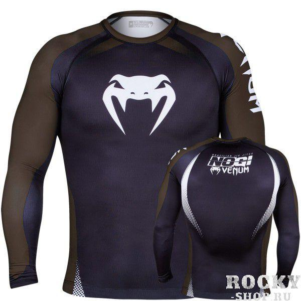 Купить Рашгард Venum No Gi Rash Guard IBJJF Approved - Long Sleeves Black/Brown (арт. 4905)