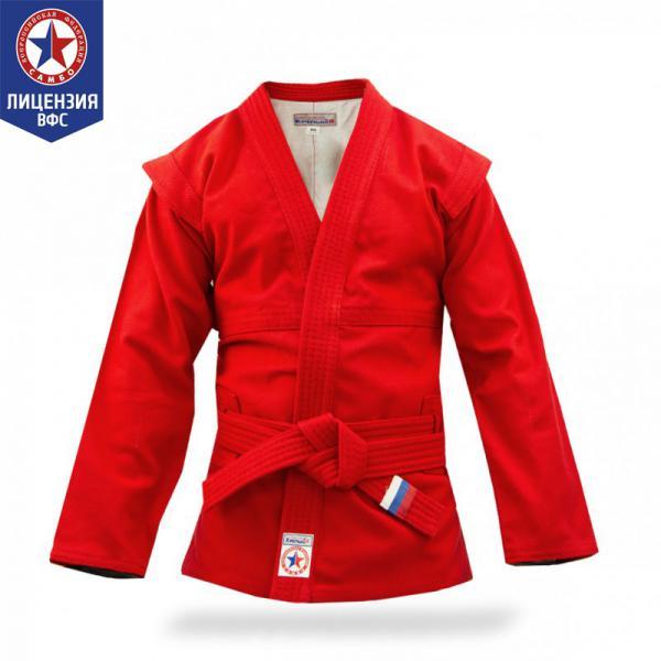 Куртка для САМБО Крепыш Я детская красная (Атака) Крепыш ЯЭкипировка для Самбо<br>Куртка для САМБО Крепыш Я детская красная (Атака) предназначена для занятий спортивным и боевым САМБО и соответствует всем требованиям кроя и качества, предъявляемым к курткам для САМБО. Особенности куртки для САМБО Крепыш Я детской:сшита по современным лекалам;прочная ткань имеет рифленую структуру;усиленные швы, в том числе в подмышечной зоне;пояс в комплекте (длина соответствует размеру);экипировка компании Крепыш Я сертифицирована Всероссийской Федерацией САМБО для занятий и соревнований. Характеристики куртки для САМБО Крепыш Я детской:материал - прочный 100% хлопок;плотность материала - 580 г/м2;подкладка - хлопковая белая;цвет куртки - красный;транспортная упаковка заказа - пакет. Рекомендации по уходу за курткой для САМБО Крепыш Я детской:Для сохранения размерных характеристик куртки для САМБО рекомендуется:1. Ручная стирка. 2. Стирка в теплой воде (до 30С). 3. Использование ополаскивателя для смягчения воды. При условии нарушения рекомендованных инструкций по уходу за изделиями (в горячей воде или в стиральной машине) размер куртки для САМБО может уменьшиться на 1-2 пункта. Гарантия:Срок гарантии: 30 календарных дней с момента получения товара покупателем. Условия гарантии: использование товара в соответствии с правилами ухода и эксплуатации экипировки. <br>Как выбрать куртку для самбо?<br>Куртка («самбовка») представляет собой видоизмененное кимоно, имеющее особый покрой и текстуру. Материал, из которого она, как правило, состоит – хлопок специального плетения. На плечах куртки имеются плотные и прочные швы, а так же выступающие планки («крылышки»), которые составляют одно из принципиальных отличий куртки для самбо от других видов экипировки. С левой и правой стороны для продевания пояса имеются специальные усиленные сквозные отверстия, не позволяющие куртке сдвинуться при захватах. Внутри куртки, как правило, находится тонкая хлопковая подкладка, но в некоторых моделях её мо