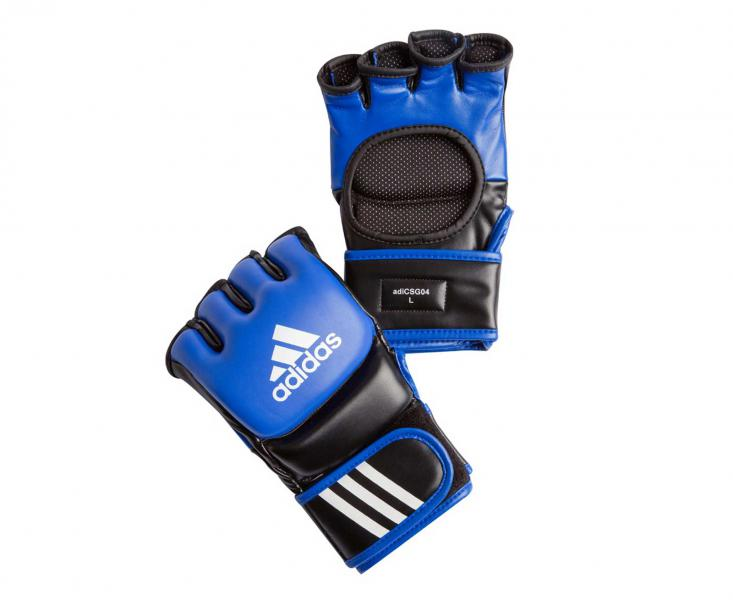 Перчатки для смешанных единоборств Ultimate Fight сине-черные, сине-черные AdidasПерчатки MMA<br>Ultimate Fight Gloves. Боевые Перчатки для смешанных единоборств. Одобрены UFC. Застежка на липучке. Усиленная защита кистиМатериал: воловья кожа.<br><br>Размер: L