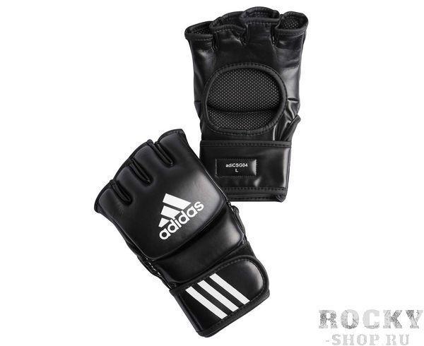 Перчатки для смешанных единоборств Ultimate Fight черные, черные AdidasПерчатки MMA<br>Ultimate Fight Gloves. Боевые Перчатки для смешанных единоборств. Одобрены UFC. Застежка на липучке. Усиленная защита кисти Материал: воловья кожа.<br>