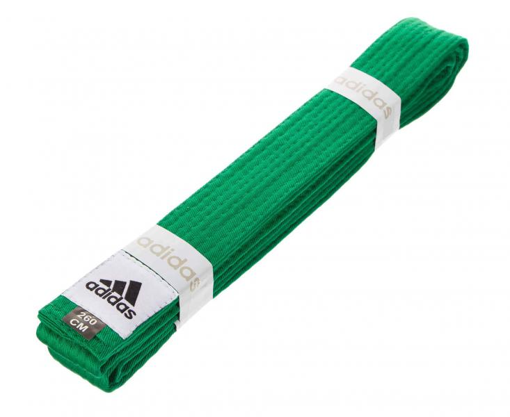 Пояс для единоборств Club, зеленый AdidasЭкипировка для Каратэ<br>Пояс для единоборств adidas Club зеленый. Club Сolor. Универсальный пояс для кимоно. Ширина 40мм. Материал:60% хлопок, 40% полиэстер.<br><br>Размер: 260 см