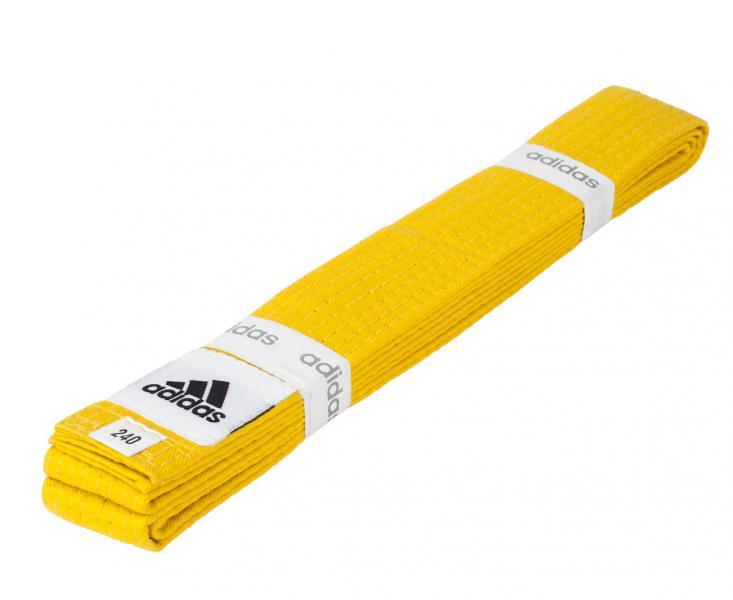Пояс для единоборств Club, желтый AdidasЭкипировка для Каратэ<br>Пояс для единоборств adidas Club желтый. Club Сolor. Универсальный пояс для кимоно. Ширина 40мм. Материал:60% хлопок, 40% полиэстер.<br><br>Размер: 280 см