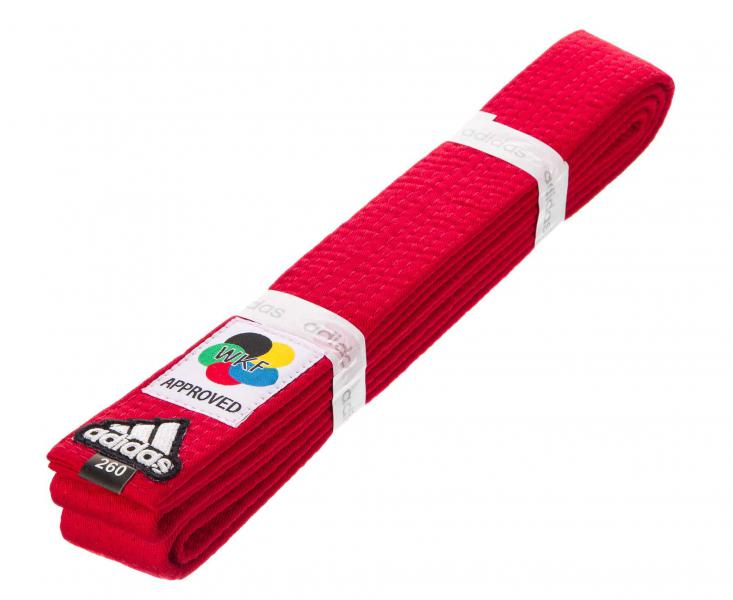 Пояс для карате Elite WKF, красный AdidasЭкипировка для Каратэ<br>Профессиональный пояс для карате Elite WKF Approved<br><br>Размер: 280 см