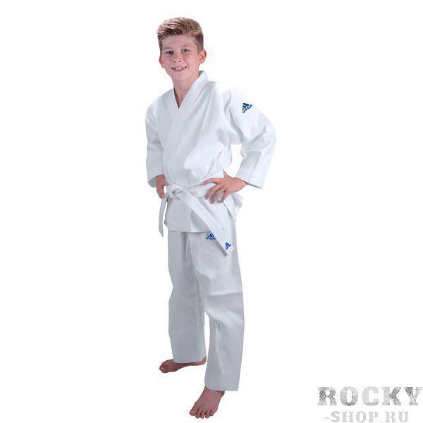 Кимоно для карате Kids, белое AdidasЭкипировка для Каратэ<br>Детское кимоно для карате adidas Kids.          Детское кимоно для карате без пояса.     Изготовлено по стандартам WKF(Word Karate Federation)    Регулируемая длина куртки и брюк.     Равномерно растёт вместе с ребёнком!    Лёгкая, гибкая и прочная ткань.     Брюки с эластичным поясом. Материал: 75%- хлопок, 25%- полиэстер.<br><br>Размер: 100-110 см