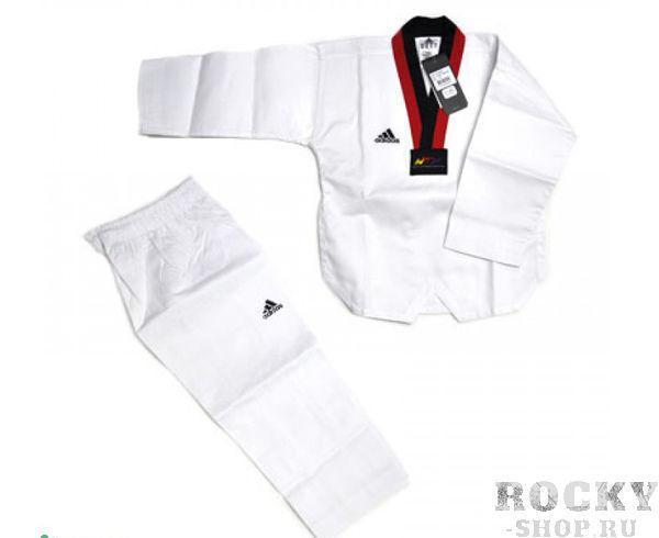 Добок для тхэквондо WTF Adi-Start, белый с красно-черным воротником AdidasЭкипировка для Тхэквондо<br>Adi-start. Добок для тхэквондо WTF.         Белое с красно-черным воротом, без пояса.       WTF approved       Классическая ребристая ткань       Пояс на штанах на резинке +фиксирующая веревка       Отличный выбор для начинающего спортсмена       Материал: 80% полиэстер 20% хлопок<br>