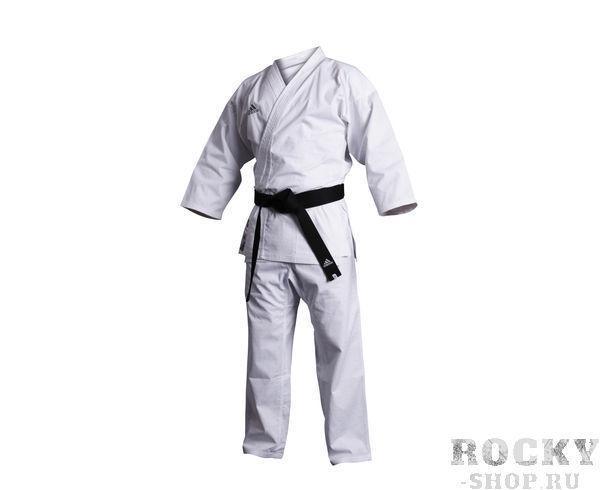Кимоно для карате Combat WKF, белое AdidasЭкипировка для Каратэ<br>Кимоно для карате adidas Combat WKF белое.                   Легкая, гибкая и прочная ткань.           Специально усиленные метса в облостях с высокой нагрузкой.           Материал: 70%-хлопок, 30%- полиэстер.<br>