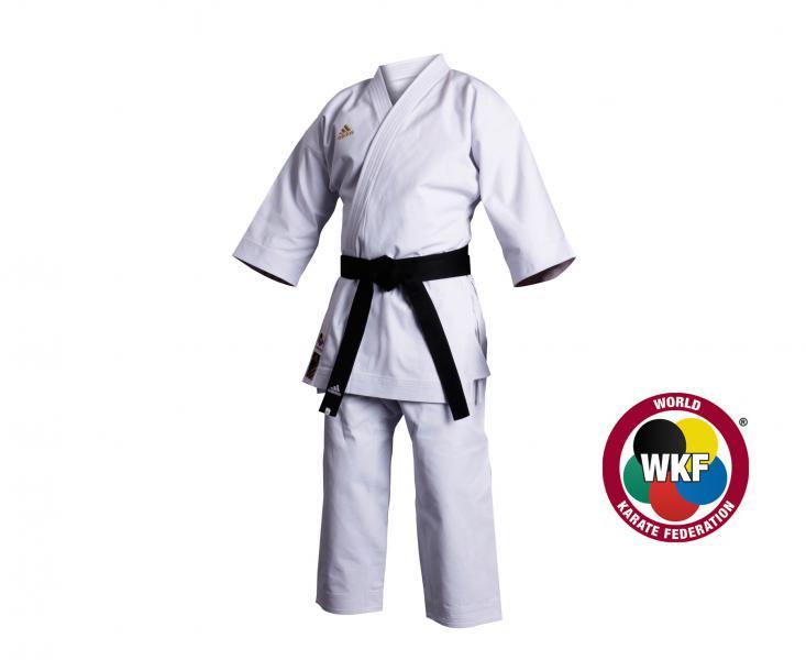 Кимоно для карате Champion European Cut WKF, белое AdidasЭкипировка для Каратэ<br>Кимоно для каратэ(ката) adidas.    Излюбленное кимоно национальных команд и мировых чемпионов.   Плотная хрустящая ткань каратэ ги.   Специально разработанный европейский крой.   Плотность: 460 грамм(16 унций).   Материал: 100%-хлопок.<br><br>Размер: 210 см