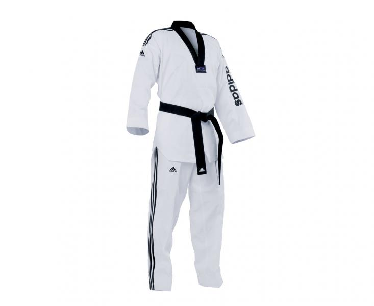Добок для тхэквондо WTF Adi-SuperMaster 2, белый с черным воротником AdidasЭкипировка для Тхэквондо<br>Adi-Supermaster 2. Добок для тхэквондо WTF.       Добок профессионального уровня.    Уникальное теснение ткани на куртки и штанах Tae-do     WTF approved.    Пояс на резинке +фиксирующая веревка.    Материал: 30%- полиэстер 70%-хлопок.<br><br>Цвет: 170 см