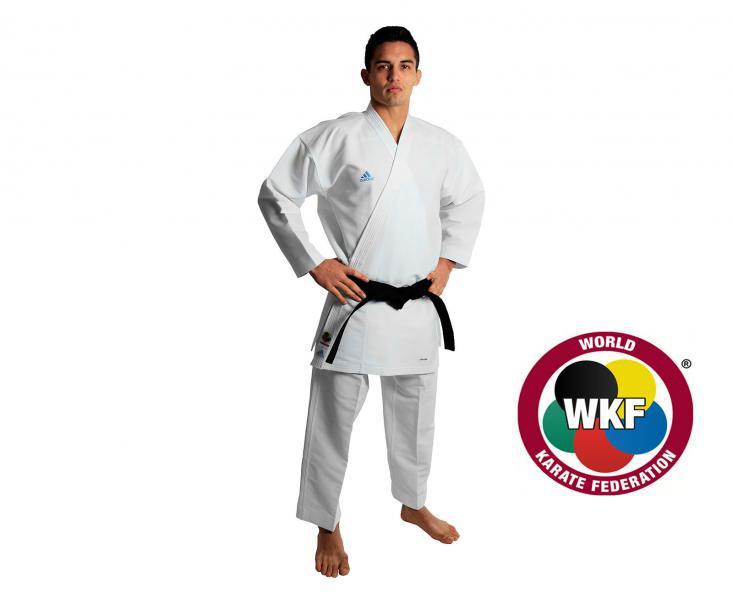 Кимоно для карате Revo Flex Karate Gi WKF, белое AdidasЭкипировка для Каратэ<br>RevoFlex. Профессиональное сверхлегкое кимоно для карате, без пояса. Кумите.    Пожалуй самое лучшее кимоно для каратэ.   Инновационные технологии: супер легкая и дышащая ткань.   Одобрено WKF.   Для тех, кто выбирает самое лучшее.   Материал: 100% полиэстер.<br><br>Размер: 175 см