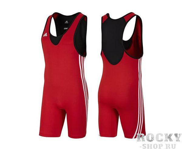 Трико борцовское Base Wrestler, красное AdidasЭкипировка для Борьбы<br>Трико adidas красного цвета. Mягкий, легкий материал ClimaLite®. Данная модель подходит как для соревнований так и для тренировок. Классический 3-полосы по бокам. В соответствии с правилами ФИЛА.<br>