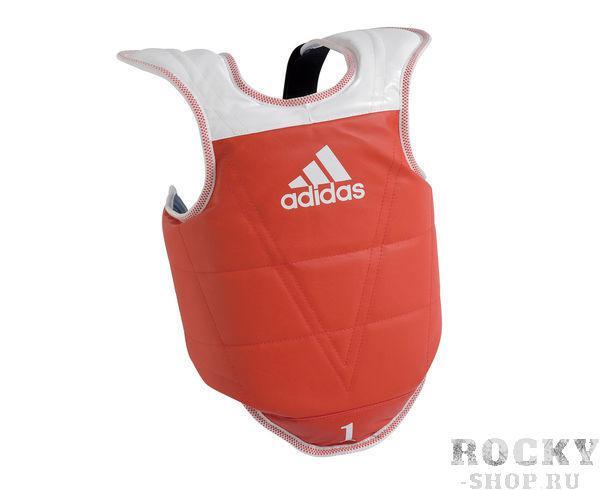 Детская защита корпуса двухсторонняя Kids Body Protector Reversible WTF, сине-красная AdidasЗащита тела<br>Жилет защитный для тхэквондо от адидас. Включает в себя защиту плеча. Шнуровка со стороны спины. Разработан специально для детей. Легкая и быстрая застежка на липучку со стороны спины. Материал: PU<br><br>Размер: S