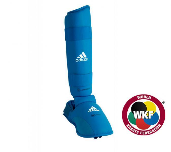 Защита голени и стопы WKF Shin &amp; Removable Foot, синяя AdidasЗащита тела<br>Защита голени и стопы WKF Shin &amp; Removable Foot синяя adidas   Одобрено WKF  Одобрено CE  Инжекционный литой вкладыш  Материал: PU3G<br><br>Размер: L