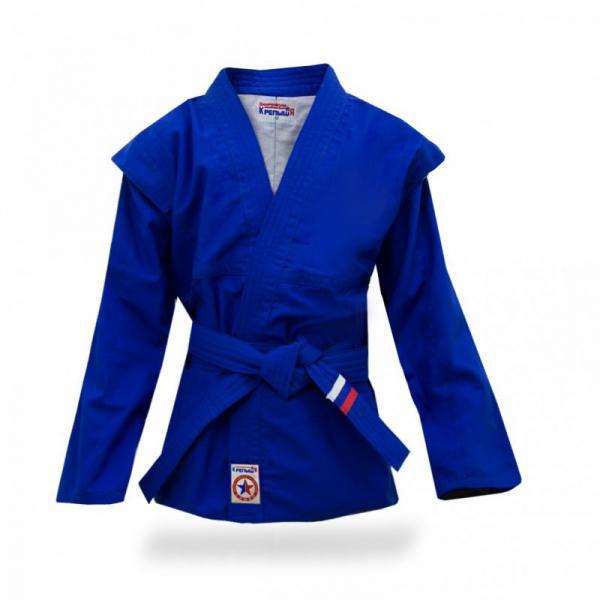 Куртка для самбо детская, облегченная, Крепыш, Синяя Крепыш ЯЭкипировка для Самбо<br>Как выбрать куртку для самбо?Куртка («самбовка») представляет собой видоизмененное кимоно, имеющее особый покрой и текстуру. Материал, из которого она, как правило, состоит – хлопок специального плетения. На плечах куртки имеются плотные и прочные швы, а так же выступающие планки («крылышки»), которые составляют одно из принципиальных отличий куртки для самбо от других видов экипировки. С левой и правой стороны для продевания пояса имеются специальные усиленные сквозные отверстия, не позволяющие куртке сдвинуться при захватах. Внутри куртки, как правило, находится тонкая хлопковая подкладка, но в некоторых моделях её может не быть. Требования к размеру: рукав куртки длиной до кисти, и шириной, оставляющей просвет до руки не менее 10 см. Полы не должны быть длинными - 15 см ниже пояса. Родители, покупающие куртку для ребенка, должны понимать, что форму для самбо не стоит брать «на вырост» с большим запасом. С длинным рукавом сложнее бороться. В целях безопасности не стоит покупать куртку с маркировкой 130 ребенку при росте 120. Если вы не знаете необходимый вам размер, его можно вычислить простым способом: длину обхвата груди разделить на 2. <br>Куртка разработана специально для занятий начинающих спортсменов самбистов младшего возраста. <br><br>Материалы: 100% х/б ткань, плотностью 280 гр/м;<br><br>Подкладка - 100% х/б легкая ткань белого цвета;<br><br>Нитки лавсан в цвет основного материала;<br><br>Производство Россия.<br><br>Размер: 30