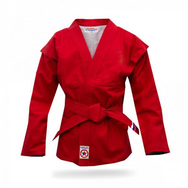 Куртка для самбо детская, облегченная, Крепыш, Красная Крепыш ЯЭкипировка для Самбо<br>Как выбрать куртку для самбо?Куртка («самбовка») представляет собой видоизмененное кимоно, имеющее особый покрой и текстуру. Материал, из которого она, как правило, состоит – хлопок специального плетения. На плечах куртки имеются плотные и прочные швы, а так же выступающие планки («крылышки»), которые составляют одно из принципиальных отличий куртки для самбо от других видов экипировки. С левой и правой стороны для продевания пояса имеются специальные усиленные сквозные отверстия, не позволяющие куртке сдвинуться при захватах. Внутри куртки, как правило, находится тонкая хлопковая подкладка, но в некоторых моделях её может не быть. Требования к размеру: рукав куртки длиной до кисти, и шириной, оставляющей просвет до руки не менее 10 см. Полы не должны быть длинными - 15 см ниже пояса. Родители, покупающие куртку для ребенка, должны понимать, что форму для самбо не стоит брать «на вырост» с большим запасом. С длинным рукавом сложнее бороться. В целях безопасности не стоит покупать куртку с маркировкой 130 ребенку при росте 120. Если вы не знаете необходимый вам размер, его можно вычислить простым способом: длину обхвата груди разделить на 2. <br>Куртка разработана специально для занятий начинающих спортсменов самбистов младшего возраста. <br><br>Материалы: 100% х/б ткань, плотностью 280 гр/м;<br><br>Подкладка - 100% х/б легкая ткань белого цвета;<br><br>Нитки лавсан в цвет основного материала;<br><br>Производство Россия.<br><br>Размер: 34