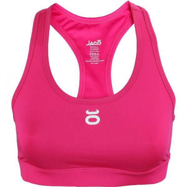 Женский тренировочный топик Jaco Jaco ClothingМайки<br>Женский тренировочный топик Jaco Women`s Sports Bra. Максимальная поддержка для максимальной стабильности. Топик сделан из специальной ткани, котороая даёт возможность свободно дышать телу. Плоские швы не будут натирать кожу. Уход: Машинная стирка в холодной воде, деликатный отжим, не отбеливать. Состав: полиэстер, спандекс.<br><br>Размер INT: M