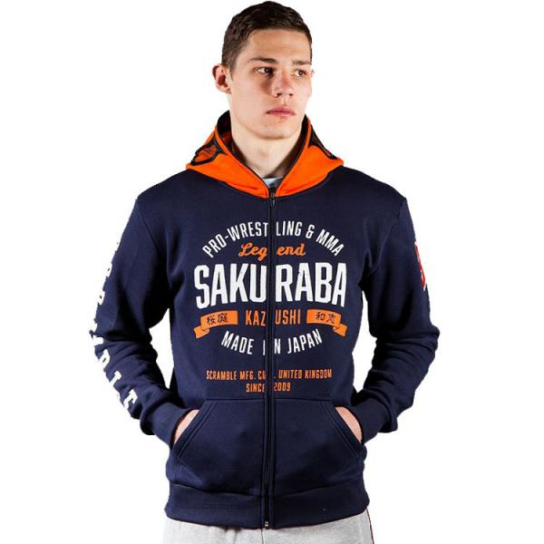 Кофта Scramble Sakuraba ScrambleТолстовки / Олимпийки<br>Кофта Scramble Sakuraba.Эта кофта приурочена к реваншу между легендой японского ММА бойца Кадзуси Сакурабой и Хенцо Грэйси на Метаморис 22 ноября 2014 года.Кофта с капюшоном-маской.На фронтальной части кофты расположены карманы.Застегивается на молнию.Состав: 80% хлопок, 20% полиэстер, 100% удивительного качества и стиля.<br>