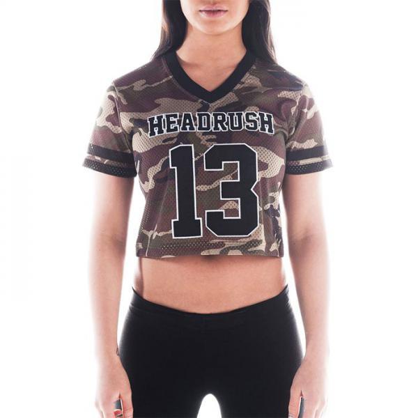 Женская футболка Headrush HR 13 Camo Team HeadrushФутболки / Майки / Поло<br>Женская футболка Headrush HR 13 Camo Team. Укороченный крой, V-образный вырез, свободные рукава. Легкая, дышащая перфорированная ткань. Состав: полиэстер. Уход: машинная стирка в холодной воде, деликатный отжим, не отбеливать.<br><br>Размер INT: S