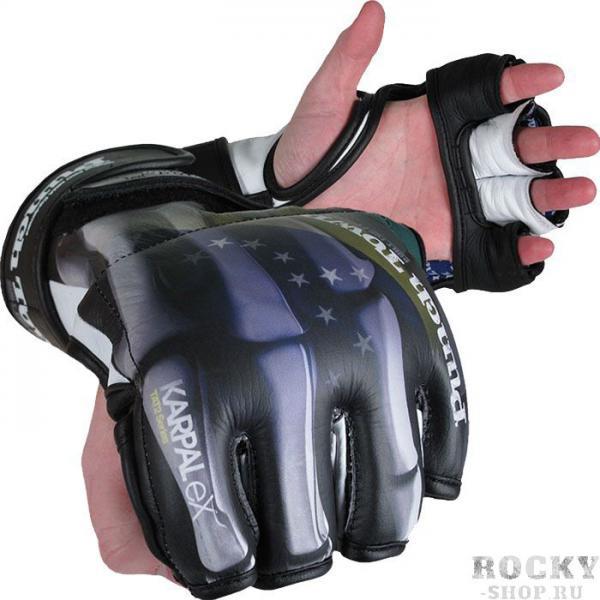MMA перчатки (накладки) PunchTown KARPAL eX TAT2 (Brazil) PunchTownПерчатки MMA<br>MMA перчатки (накладки) PunchTown KARPAL eX TAT2 (Brazil). Изящные и стильные перчатки класса люкс ручной работы. Захватывающий дух дизайн заставит влюбиться в эти перчатки для смешанных единоборств даже людей, которые негативно относятся к боевым искусствам. BOA-TITE TM двойная конструкция для крепления с обеих сторон запястья. Материал: высококачесвенная кожа. Вес: 4 Oz (унции).<br><br>Размер: S
