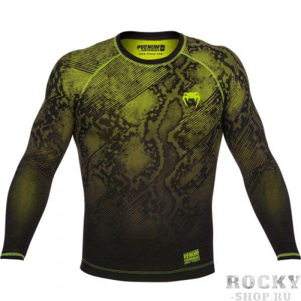 Купить Компрессионная футболка Venum Fusion Compression T-shirt - Black Yellow Long Sleeves (арт. 6269)