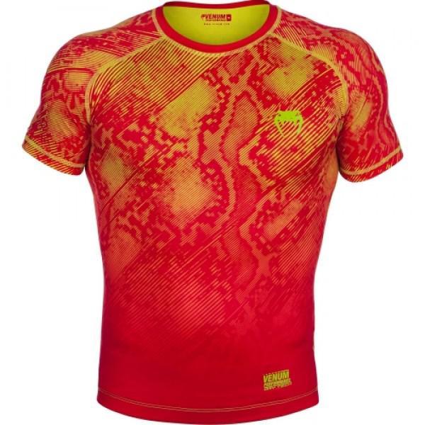 Купить Компрессионная футболка Venum Fusion Compression T-shirt - Orange Yellow Short Sleeves (арт. 6274)