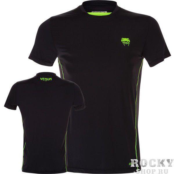 Футболка Venum Contender Dry Tech T-Shirt - Black / Neo Yellow (арт. 6307)  - купить со скидкой