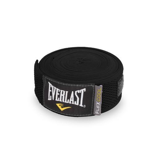 Бинты Everlast Breathable, черные, 4.5 метра, 4,5 метра EverlastБоксерские бинты<br>Эластичный бинт FLEXCOOL™ Hand Wraps обеспечивает высокую степень комфорта и безопасности во время тренировок. Сетчатый материал прекрасно защищает костяшки пальцев, ладонь и запястье, и, в то же время, не препятствует доступу воздуха к коже, позволяя руке дышать. Бинт снабжен удобным креплением на большой палец и надежной застежкой на липучке. Изготовлен из современного эластичного материала, благодаря чему обладает высокой прочностью и износоустойчивостью. Подлежит машинной стирке.<br><br>Цвет: черные