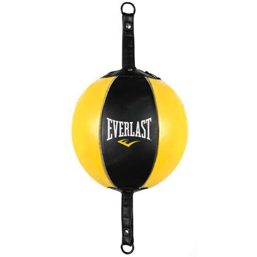 Груша боксерская Everlast на Растяжка Everlast, черно-желтый EverlastСнаряды для бокса<br>Сферическая груша из высококачественной кожи, прошитая тройными стежками. Двусторонняя конструкция позволяет отрабатывать удары с точным позиционированием, тем самим значительно повышая их четкость и эффективность.Груша поставляется в комплекте с эластичными жгутами для двустороннего крепления к потолку и к полу. Эту модель груши можно укомплектовать продающимися отдельно дополнительными ударными поверхностями, для полноценной отработки ударов по всем областям.Натуральная кожа обеспечит максимально долгий срок службы, а в случае повреждения, починить ее будет удобнее чем грушу из искусственных материалов.<br>