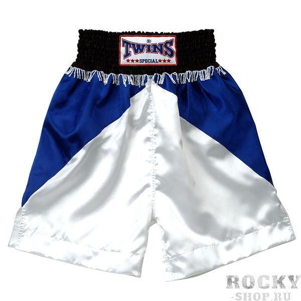 Боксерские шорты Twins Special, Синий/ черный Twins SpecialШорты для бокса<br>Подходят для занятий спортом по боксу, ММА и тайскому боксу<br> Обладают яркой привлекательной раскраской<br> Не сковывают движения<br> Материал - сатин<br><br>Размер INT: Размер M