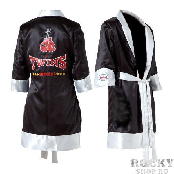 Халат боксерский, Чёрный/белый Twins SpecialБоксерские халаты<br>Идеальное дополнение к вашей боксерской экипировке<br> Изготовлен из первоклассного сатина<br> Приятен на ощупь<br> Логотип фирмы TWINS на спине<br><br>Размер INT: Размер XXL