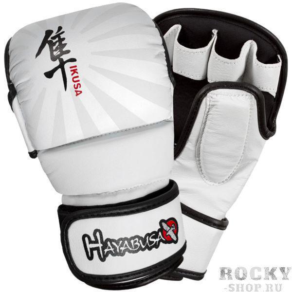 Гибридные перчатки hayabusa ikusa 7oz, Бело-черные HayabusaПерчатки MMA<br>гибридные мма перчатки Hayabusa Ikusa 7oz. готовьтесь к боям в мма с самыми лучшими 7 Oz гибридными перчатками серии Ikusa от Hayabusa. увеличенная по сравнению с мма-перчатками внешняя накладка позволит более бережно отнестись к Вашему спарринг-партнеру во время тренировки. так же данный вид перчаток будет очень интересен для любителей кудо и арб - внешняя часть перчаток спроектирована так, что бы не разбить пальцы даже о самый жесткий шлем!mma перчатки Hayabusa Ikusa снабжены фирменной системой закрытия запястья Dual-X. Эти перчатки для смешанных единоборств ВЕЛИКОЛЕПНО фиксируют ладонь. Каждая перчатка снабжена новейшим внутренним слоем, моментально реагирующим на удар и обладающим отличными впитывающими и дезодорирующими способностями. Точный обхват тыльной и внутренней стороны ладони не позволит перчатке съехать во время тренировки. состав: 100% кожа!Вес: 7 Oz<br><br>Размер: S