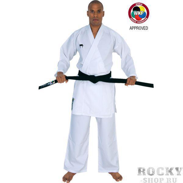 Кимоно для каратэ Venum Elite Kumite, Белое VenumЭкипировка для Каратэ<br>Кимоно (каратэги) для каратэ Venum Elite Kumite. ВНИМАНИЕ: данное каратэги одобрено WKF (Всемирная Федерация Каратэ). Кимоно Venum Elite Kumite является одним из самых лёгких каратэги. Удобное, легкое, но при этом достаточно прочное кимоно. Позволяет тренироваться даже в максимальном ускорении, не создаёт дискомфорта. Предназначено для отработки техники кумитэ. Изготовлено из дышащей ткани плотностью 5. 3 унций. Каратэги хорошо впитывает пот и дышит за счёт перфорированной ткани на спине. Минимальное количество вышивки и патчей. Штаны удерживаются за счёт эластичного пояса со шнурком. Специально усиленные места в областях с высокой нагрузкой. Кимоно не мнется, не вытягивается. Оно сохраняет достойный вид и после многочисленных стирок. Некоторые тренера рекомендуют брать кимоно на 5см больше вашего размера. Выполнено в классическом белом цвете, который символизирует скромность и смирение. Состав: 100% полиэстер. Пояс (оби) в комплект НЕ входит.<br><br>Размер: 190см