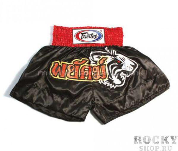 Шорты для тайского бокса Fairtex TIGER FairtexШорты для тайского бокса/кикбоксинга<br>Комфортные, стильные, удобные, немного агрессивные, за счет вышитой пасти тигра, шорты для тайского бокса. Они станут достойным украшением вашего спортивного гардероба. <br><br>Ручная работа - Fairtex Thailand. <br>Материал - сатин<br>Цвет- черный<br>Вышивка - золото и серебро<br><br>Размер INT: M