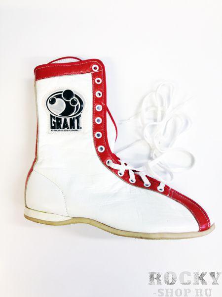 Боксерки высокие, белый/красный GrantБоксерки<br>Профессиональная боксерская обувь <br> Материал - кожа<br> Резиновая подошва<br> Ручная работа<br> Сделано в Мексике<br><br>Размер: Размер 42