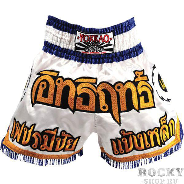 Тайские шорты Yokkao Blade Runner YokkaoШорты для тайского бокса/кикбоксинга<br>Шорты для тайского бокса Yokkao Blade Runner. Широкий эластичный пояс гарантирует комфорт и надежную фиксацию на поясе. Сделано в Тайланде. Состав: 100% полиэстер.<br><br>Размер INT: M