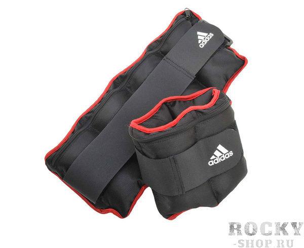 Утяжелители регулируемые от 0.5 до 2.0 кг Adjustable Ankle/Wrist Weights черно-красные AdidasУтяжелители<br>Регулируемая надежная застежка-липучка и съемные карманы на молнии для грузов, делают утяжелители очень удобными в использовании. Комплект утяжелителей включает 8 рузов по 0,5 килограмма и 2 чехла общим весом 0,58 килограмма. Относительно небольшой вес, добавленный к весу тела во время тренировки, не принесет радикального эффекта, но если Вы поместите этот вес подальше от центра тяжести, тогда эффект будет заметен.<br>